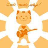 Vector illustration cat playing music on electric Royalty Free Stock Photo