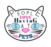 Vector illustration of cat silhouette with blue Royalty Free Stock Image