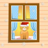 Cat. Vector illustration: the cat sits on the window sill. Cristmas is comming vector illustration