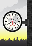 Vector illustration of a cat station clock. Stock Photo