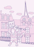 Cat the Violinist in Pink Paris Stock Images