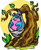 Vector - illustration, caterpillar, cocoon, summer, miracle, expectation, joy, excitement, fairy tale, big tree. Vector - illustration of a caterpillar on a vector illustration