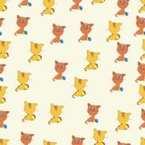 Seamless pattern cat and ball background illustration. Vector illustration, cats seamless pattern, cute cat with colorful ball on white background. It can be Royalty Free Stock Photography