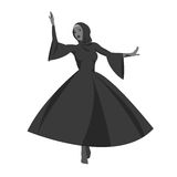 Vector illustration of Caucasian woman dancing  in the national costumes. Lezginka dancer. Royalty Free Stock Photography