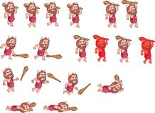 Cave Man Carrying Batton Cartoon Game Animation Sprite Stock Images