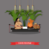 Vector illustration of cave people exposition in museum, paleolithic era Royalty Free Stock Photography