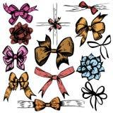 Vector illustration of Celebration Bows Decor colored doodles set. Elements isolated on white background stock illustration
