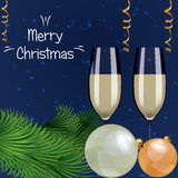 Vector illustration of celebration of new year and Christmas wit Stock Image