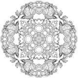 Vector illustration of Celtic knot ravens viking fantasy cross ornament mandala  black and white Royalty Free Stock Images