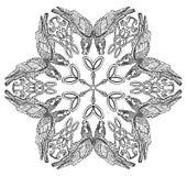 Vector illustration of Celtic viking symbol ravens mandala black and white Stock Image