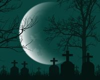 Vector illustration of a cemetery with headstones, dead trees an. D crescent moon - suitable for Halloween Stock Photography