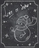 Vector illustration of chalkboard style christmas quote with funny snowman and snowflakes Royalty Free Stock Image