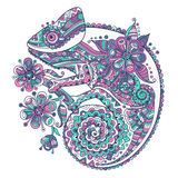 Vector illustration with a chameleon and beautiful patterns Royalty Free Stock Photography