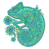 Vector illustration with a chameleon and beautiful patterns in blue  green shades Stock Photography