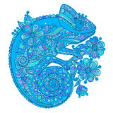 Vector illustration with a chameleon and beautiful patterns in shades of blue Royalty Free Stock Images