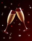 Vector illustration of champagne glasses splashing Royalty Free Stock Photography