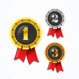 Vector Illustration champions gold, silver and bronze award medals with red ribbon. Champions gold, silver and bronze award medals with red ribbon Royalty Free Illustration