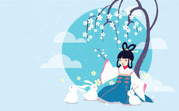 Vector illustration Chang'e legend Mid autumn festival. The Chinese Goddess of Moon, rabbits, moon, laurel tree. Aspect ratio for wallpaper, greetings card Royalty Free Stock Images