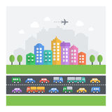 Vector illustration of chaotic cityscape. Royalty Free Stock Photography
