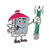 Vector Illustration of character Notebook Mascot Holding a Pen.  Stock Photo