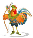 Rooster. Vector illustration - character Rooster in Robin hood costume - hero of folk tales Stock Images
