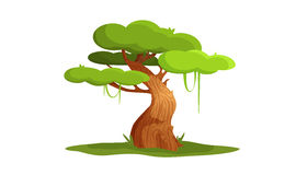 Vector illustration character tree. Green oak can be used as an element of the game locations. Eco  illustration Stock Image