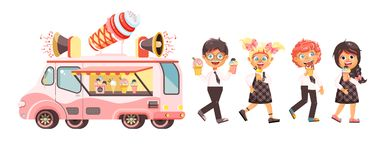 Vector illustration  characters children, pupils, schoolboys, schoolgirls eat ice cream, car refrigeration Stock Image