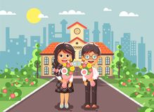 Vector illustration characters children schoolgirl and schoolboy, classmates, pupils students stand with bouquets Stock Photography