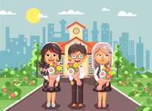 Vector illustration characters children two schoolgirls and boy classmates pupils students standing with bouquets Stock Photo