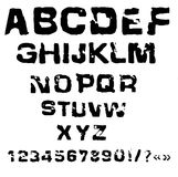 Vector illustration of charcoal alphabet. Grunge stamp font Royalty Free Stock Photos
