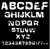 Vector illustration of charcoal alphabet. Grunge stamp font Stock Photo