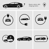 Vector illustration charging station for electric car. Icons pin point electric vehicle charging station. Isolated Stock Image