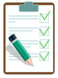 Vector illustration of a checklist with pencil. Royalty Free Stock Image