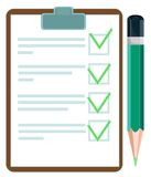 Vector illustration of a checklist with pencil Royalty Free Stock Photography