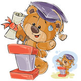 Vector illustration of a cheerful brown teddy bear in the graduation cap makes a speech at the graduation ceremony stock illustration