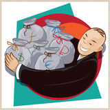 Vector illustration. Cheerful businessman with bags of money Stock Photos