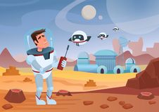 Vector illustration of cheerful cartoon spaceman astronaut standing and controlling drones. Mars landscape. Vector illustration of cheerful cartoon spaceman Stock Images