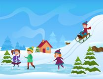 Vector Illustration of cheerful kids ice skating and sledging in winter. Winter holifays card. Vector Illustration of cheerful kids ice skating and sledging in stock illustration