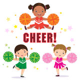 Vector illustration of cheerleader with Pom Poms Royalty Free Stock Photos