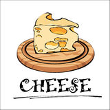 Vector illustration of cheese on a wooden board. Royalty Free Stock Photos