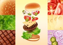 Vector illustration of cheeseburger in exploded view with tomato, cheese, onion, jalapenos, beef, lettuce and bun stock illustration