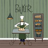 The chef prepares the dough for baking. Baker in the bakery interior. Bread in the window. royalty free illustration
