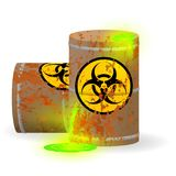 Chemical biological waste in a rusty barrel. Toxic green fluorescent liquid in a keg. Environmental pollution danger of. Vector illustration. Chemical biological vector illustration