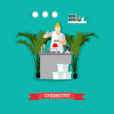 Vector illustration of chemistry laboratory and woman testing chemical elements. Royalty Free Stock Photo