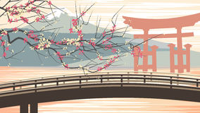 Vector illustration of cherry blossoms against background of mou Stock Photo