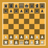 Vector illustration of Chess Board. Set black and white isolated chess pieces, chessboard of yellow and brown colors, professional simple chess board Royalty Free Stock Photos