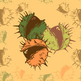 Vector illustration with chestnut. Green autumn seamless pattern with chestnut Royalty Free Stock Photo