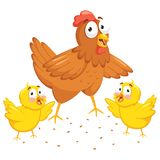 Vector Illustration Of Chicken And Chicks. EPS 10 Royalty Free Stock Photos