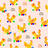 Vector illustration of chicken pattern on light background Stock Image