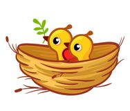 Vector illustration of the chicks sitting in the nest. Royalty Free Stock Images